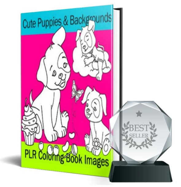 Cute Puppy & Background Coloring Book